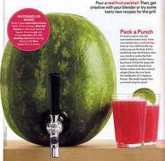 Watermelon Cocktail Keg – As Seen in Food Network Magazine!  HAVE to do this at the next get together!!!!