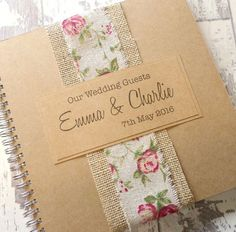 Burlap Rose Handmade Wedding Guest Book, Scrapbook, Wedding Planner, Album - Rustic Kraft Guestbook with Hessian - Personalisedi