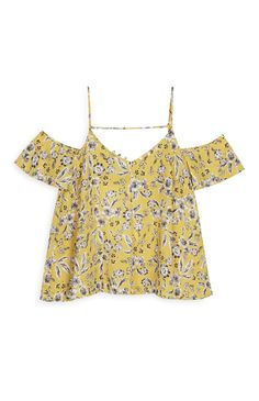 Primark - Top color mostaza con estampado floral