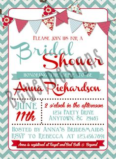 Bridal shower invitation simple chevron red aqua ocean baby retro bridal shower invitation 5x7 typography bridal shower invitation with red and teal banners filmwisefo Gallery