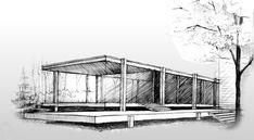 Risultati immagini per farnsworth mies structure Architecture Concept Drawings, Architecture Plan, Amazing Architecture, Farnsworth House, House Sketch, House Drawing, Perspective Sketch, Building Sketch, Interior Design Sketches