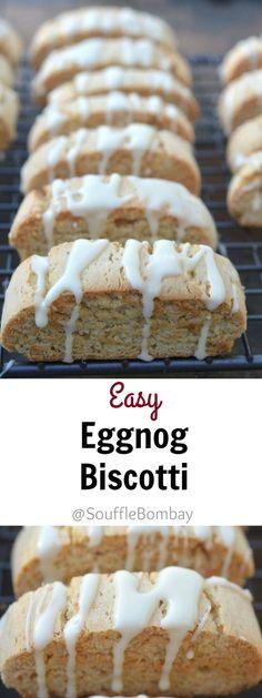 Easy Eggnog Biscotti with Whiskey-Eggnog Glaze