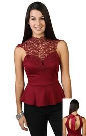Red Lace Peplum Tops for Girls - Cute Lace Peplum Tops Lace Peplum, Peplum Tops, Deb Shops, Red Lace, Cap Sleeves, Formal Dresses, My Style, How To Wear, Clothes