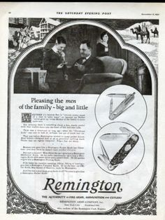 1923 Remington Fire Arms Cutlery Ad Official Boys Scout of America Knife L869 |