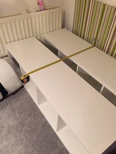 Children's single bed using IKEA's KALLAX units, Child's single bed hack, A step by step guide of how you can create a single bed using Ikea units. Ikea Kids Bed, Ikea Bed, Expedit Hack, Single Bed Base, Childrens Single Beds, Ikea Units, Cama Ikea, Diy Bett, Ikea Storage