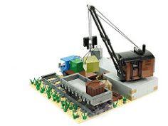 Old crane – Model Trains Lego Train Station, Lego City Train, Lego Track, Custom Lego Sets, Steampunk Lego, Lego Modular, Lego Construction, Vintage Lego, Lego Worlds
