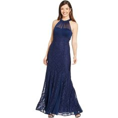 Nightway Petite Illusion Lace Halter Gown ($139) ❤ liked on Polyvore featuring dresses, gowns, navy, petite formal gowns, blue formal dresses, navy lace dress, navy blue lace dress and lace gown