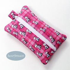 Pink Plaid Westies Pocket Tissue Holder, Travel Tissue Case: Keep your travel tissues clean and handy in this zippered Pink Plaid Westies Pocket Tissue Case. Holds one pocket sized tissue pack (not included).  Made of Kona cotton fabric from Spoonflower.com featuring the Tiny Westies on Pink Plaid design created by Kim Niles of KiniArt.com Use this case to hold individual packets of hand wipes or discreetly carry personal items in your bag or purse.
