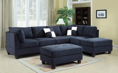 Reversible Sectional Set (Navy Blue) Glory Furniture in Living Room Sets. This Reversible Sectional Set by Glory Furniture is sure to please your family and guests. The set features navy blue suede, comfortable seating and removable backs. Blue Living Room, Navy Blue Sofa, Blue Sectional, Blue Sectional Couch, Blue Couch Living, Living Room Sets Furniture, Living Room Sets, Home Furniture, Living Room Designs