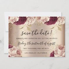 Save The Date Florals Rose Gold Roses Marsala Christmas Wedding Invitations, Burgundy Wedding Invitations, Save The Date Invitations, Save The Date Postcards, Save The Date Magnets, Wedding Invitation Cards, Save The Date Cards, Zazzle Invitations, Party Invitations