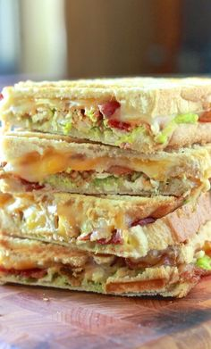 Chicken, Bacon and Avocado Panini ~Another great idea for Corey to try. Maybe use turkey bacon and grilled chicken breasts to make it a little healthier. Might have to check into getting a Panini maker~