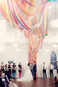 Simple streamers used to make this awesome wedding backdrop