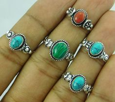 TURQUOISE & MIX GEMSTONE WHOLESALE LOT 5PCS 925 STERLING SILVER OVERLAY RING #arvi85 #Ring