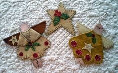 """""""Christmas Angels and Star"""" Penny Rug Ornament Pattern"""