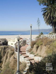 View from Palisades Down to Beach, Santa Monica Beach, Santa Monica, California, USA Photographic Print by Ethel Davies at Art.com