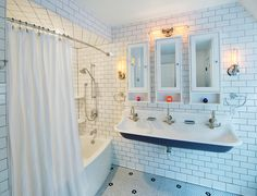curved curtain rod Bathroom Transitional with handheld shower faucet hexagon floor tile sink