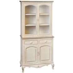 Country Display Cupboard W/2 Cuboards Drawers dresser glass cabinet #HillInterior