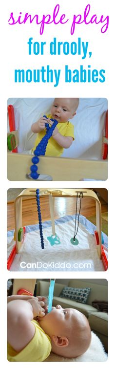 Use your activity gym to help your baby hold and chew toys. A simple activity gym hack from a pediatric Occupational Therapist to ease teething pain, and promote grasping skills and sensory development. CanDoKiddo.com