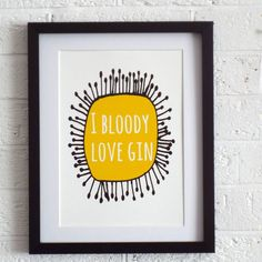 This 'I Bloody Love Gin' print makes a lovely gift for gin lovers. Perfect for brightening up your gin drinking space! Gifts For Gin Lovers, Gin Gifts, Gift For Lover, Whisky, Gin Quotes, Gin Festival, Gin Bar, Gin And Tonic, Art Pictures