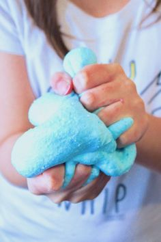 "Super fluffy blue cotton candy slime! Click ""read it"" for full instructions to make it!"