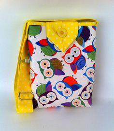 Handbag for Girls Owl Tote Small Cotton Fabric Purse by HolaLotta