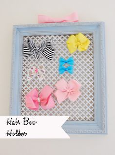 DIY Hair Bow Organizer at 11 Magnolia Lane.  The perfect gift for a little girl and a cute way to keep  bows and accessories organized.