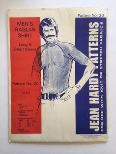 Vintage Jean Hardy Sewing Pattern 20 Men's Raglan Shirt Uncut 1973 Sz S  M L XL #JeanHardyPatterns #RaglanShrit