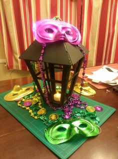 DIY lantern idea for mardi gras centerpiece.