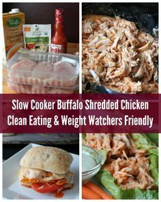 The BEST Slow Cooker Buffalo Chicken Recipe. Clean Eating and Weight Watchers Friendly