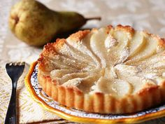This dessert is pretty enough to serve as a dessert when entertaining, but light enough to enjoy at breakfast or as a mid-morning snack with a cappuccino. I used poached pears in my tart, but you could use any fruit you prefer!