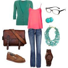 """""""Green and pink"""" by jossiebristow on Polyvore"""