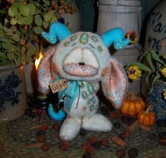 Primitive Halloween Goth Troll Monster Goblin Doll Patti's Ratties Bear Artist