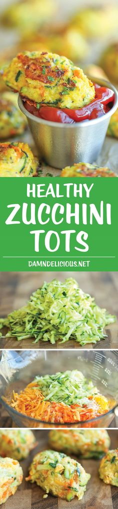 Zucchini Tots - Loaded with zucchini and carrots, these tots do not even taste healthy! It's the perfect way to sneak in veggies, and it's just so good Healthy Dinner Ideas for Delicious Night & Get A Health Deep Sleep Zucchini Tots, Healthy Zucchini, Zucchini Cheese, Recipe Zucchini, Keto Cheese, Cheddar Cheese, Vegetable Recipes, Vegetarian Recipes, Healthy Recipes