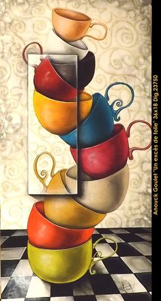 Oeuvre original par / original painting by: Anouck Goulet vailable at Artym Gallery Invermere BC. #multi-art.net/... #art #anouckgoulet #multiartltee #acrylicpainting #canadianartist #quebecartist #teacups #whimsical #artym