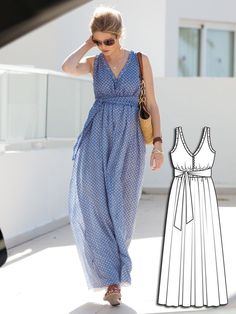 This is a floor-length summer Maxi-Dress with smocked waistline has a deep V-neckline and skirt with lining. What a beautiful dress this is! Wear it will all your favorite summer sandals and wedges, it also is flattering with its tie at the waist.