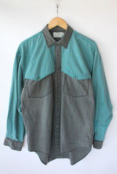 Vintage 80s Men's Faded Teal & Gray Western Style Shirt // Large Button Up. $32.00, via Etsy.