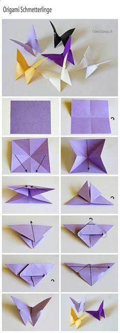 How to make Origami Butterflies These are lovely butterflies. DIY basteln mit Kindern im Frühling / Ostern. Tolle Idee zum basteln als Dekoration auf für die Grundschule, Schule, Kindergarten, Vorschule oder zu Hause. Schmetterlinge selbst gemacht aus Papier.