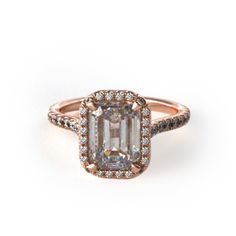 Rose Gold Pave Engagement Ring with Emerald Stone