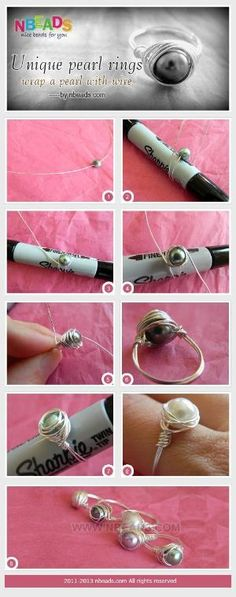 unique pearl rings - wrap a pearl with wire by iris-flower