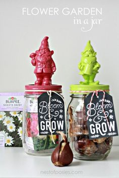Flower Garden in a Jar with FREE gift tag printable! : Flower Garden in a Jar with FREE gift tag printable!