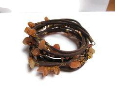 Aventurine suede cord bracelet / Earthy bracelet / Boho bracelet / Gypsy…