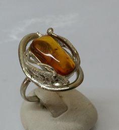 Vintage Ringe - Ring Bernstein Silber 835 feine Handarbeit SR616 - ein…