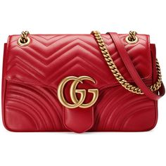 Gucci Gg Marmont Matelassé Shoulder Bag (9.440 RON) ❤ liked on Polyvore featuring bags, handbags, shoulder bags, red, oversized handbags, gucci handbags, genuine leather shoulder bag, leather handbags and chain shoulder bag
