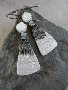 I Still Do ... Ceramic Charms with Tinwork, MOP Carved Roses and Sterling Silver Wire-Wrapped Classic, Boho, Wedding, Formal Earrings