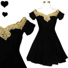 Vintage 80s 90s Black Velvet Gold Party Dress XS, $75.00