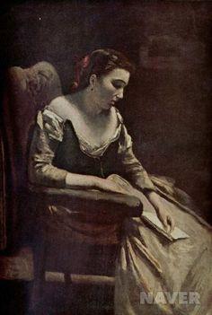 <편지 by 장 밥티스트 카미유 코로> 어두운 배경과 여인의 표정을 통해 여인이 받은 편지가 슬픈내용을 담고 있음을 알 수 있다.