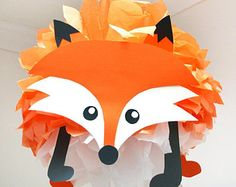 INSTANT DOWNLOAD Fox Party Decoration/Tissue Paper Pompom/DIY Instructions/Woodland Animal/Forest Friends