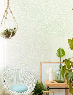 Balth Botanical Wallpaper from Eijffinger Geonature by Brewster Botanical Wallpaper, Home Appliances, Retro, Beige, Furniture, Home Decor, Entryway, Bathroom, Decoration