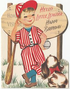 Vintage Little Boy in Baseball Outfit with Dog Birthday Greeting Card