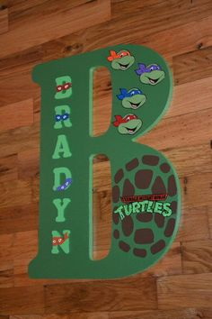 Teenage Mutant Ninja Turtles theme 18 inch by LettersbyTina Totally Brayden:) Turtle Birthday Parties, Ninja Turtle Birthday, Ninja Turtle Party, 4th Birthday, Cowboy Birthday, Cowboy Party, Birthday Ideas, Ninja Turtles, Ninja Turtle Room